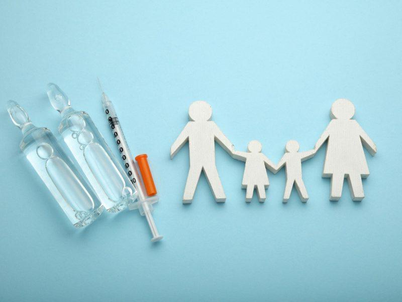 Family immunization concept. Flu vaccine for children.